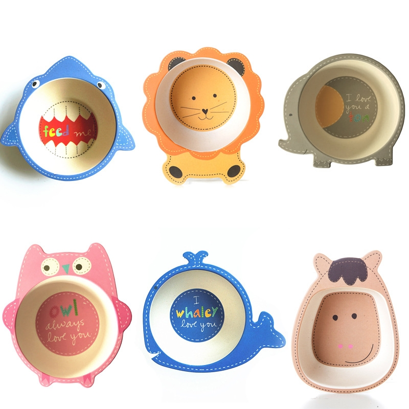 Cartoon Animal Bamboo Tableware Baby Feeding Food Bowl Infant Kids Plate Eco-friendly Cute Children Baby Eating Food Bowl Plate посуда constructive eating garden fairy plate тарелка серия волшебный сад
