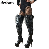 Sorbern Cross Tied Crotch Thigh High Boots Super High Heels 15Cm China Size Designer Boots Women Fashion Shoes Of The Women