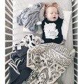 100*68 centímetros Cobertor Do Bebê da Alta Qualidade de Impressão Preto e Branco de Algodão Cobertor Do Bebê Cobertor Para Eewborns Sonho Bedding1pcs
