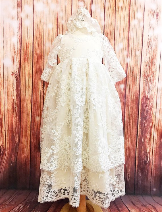 все цены на New Long Sleeves Two Layered Baby Girls Christening Gown O Neck Lace Dress Infant Girls Baptism Dress size 3 6 9 15 24month