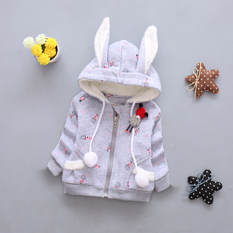 4Colors Fashion Baby Children Winter Casual Coats Hooded Sweatshirts Rabbit Ears Cotton Thicken Girls Kid Outerwear