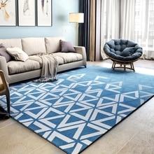 Nordic style blue geometric bedside carpet ,big size orange living room coffee table ,decoration office