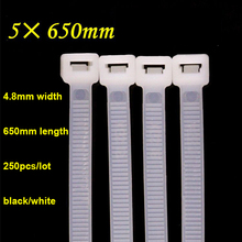 250pcs/lot Self-Lock Type Plastic Nylon Cable Tie National Standard Wire Fixed White/Black Zip lock tie 5*650mm