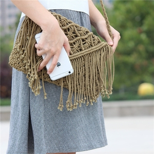 Image 4 - New 2019 tassel straw bag large clamshell cotton hand woven casual female beach bag  Knitted Messenger Bags
