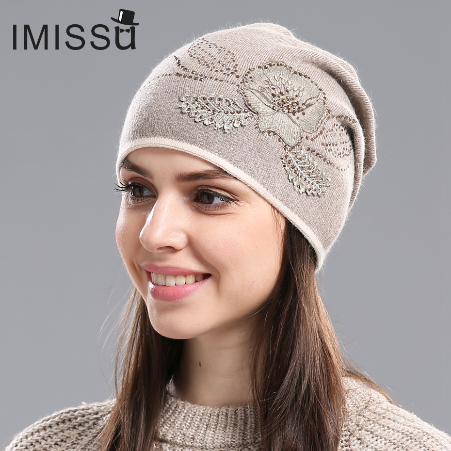 IMISSU Women's Winter Hats Hot Sale Gorros for Female Knitted Wool Casual Beanie Cap with Flower Pattern Gorros Thick Warm Hat rwby letter hot sale wool beanie female winter hat men