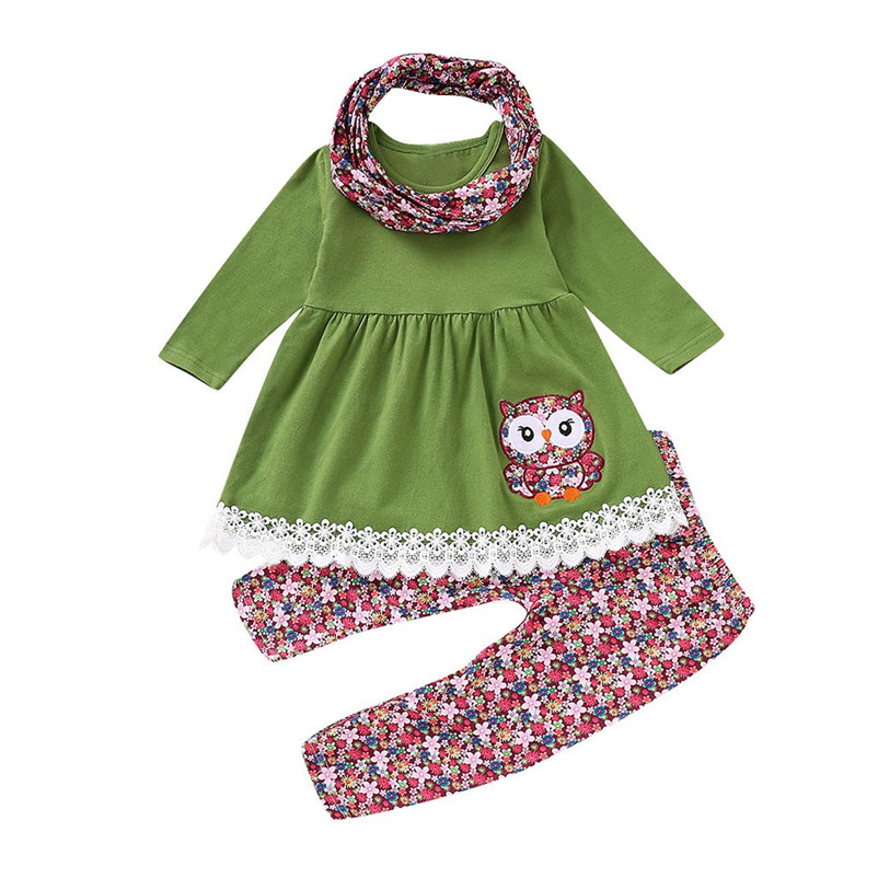 Children Kids Girls Embroider Cartoon Owl Dress + Floral Pants + Scarf Set Outfit kid girl outfits fifteen days suit 2019 NEW M5