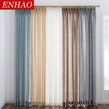 ENHAO Modern Tulle Curtains for Living Room The Bedroom Kitchen Tulle Curtains for Window Voile Curtains Sheer Panel Windows(China)