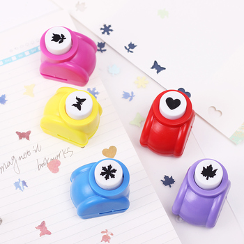 Kid Child Mini Printing Paper Hand Puncher Scrapbook Tags Cards Craft DIY Punch Cutter Tool 6 Styles Hole Punch image