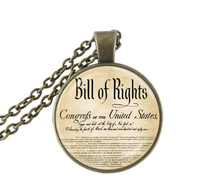 United States Bill Of Rights Ten Ammendments Constitution Patriotic American Art Pendant With Ball Chain Necklace