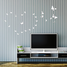 25 unids/lote mariposa acrílico superficie espejo decorativo pared arte calcomanía DIY moda pared pegatina para niños habitaciones decoración del hogar E(China)