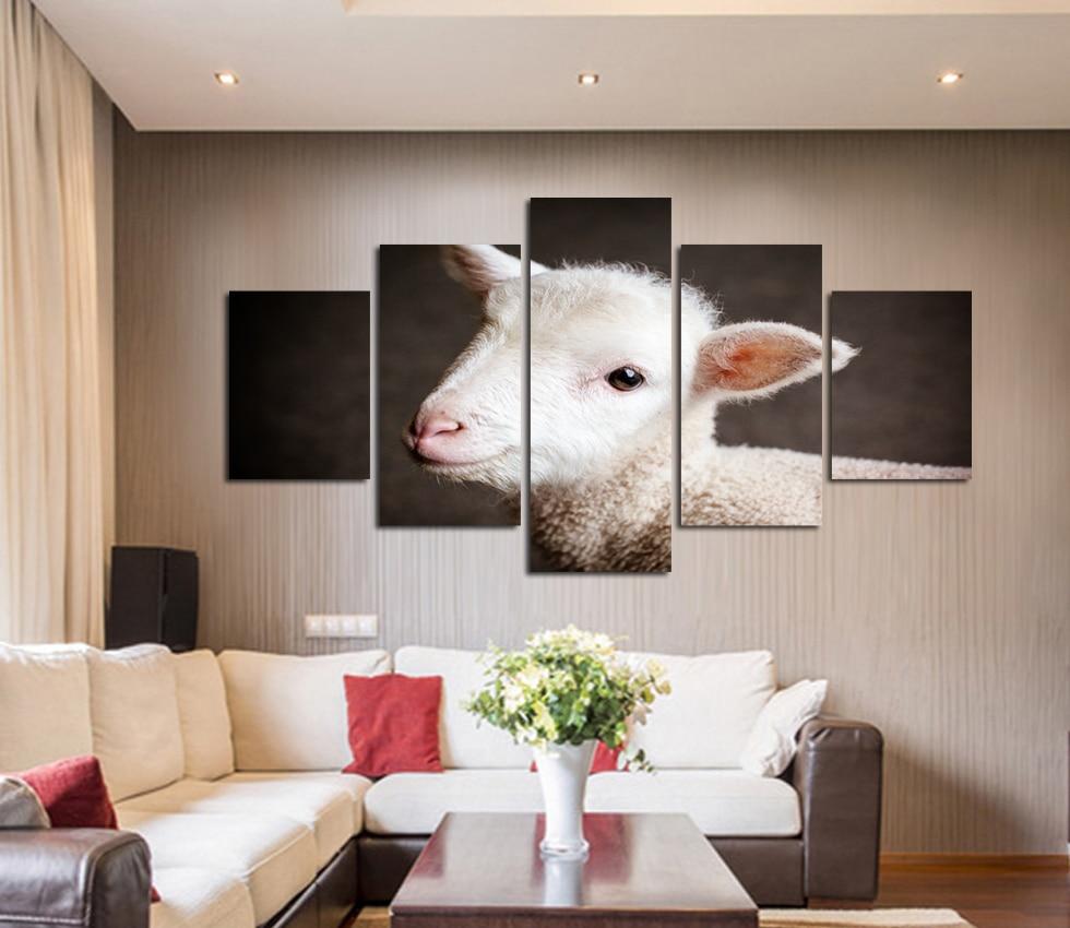 Animal Bonito Pequena Ovelha Imagem Impressa Pintura Da Lona  -> Pinturas De Sala Pequena