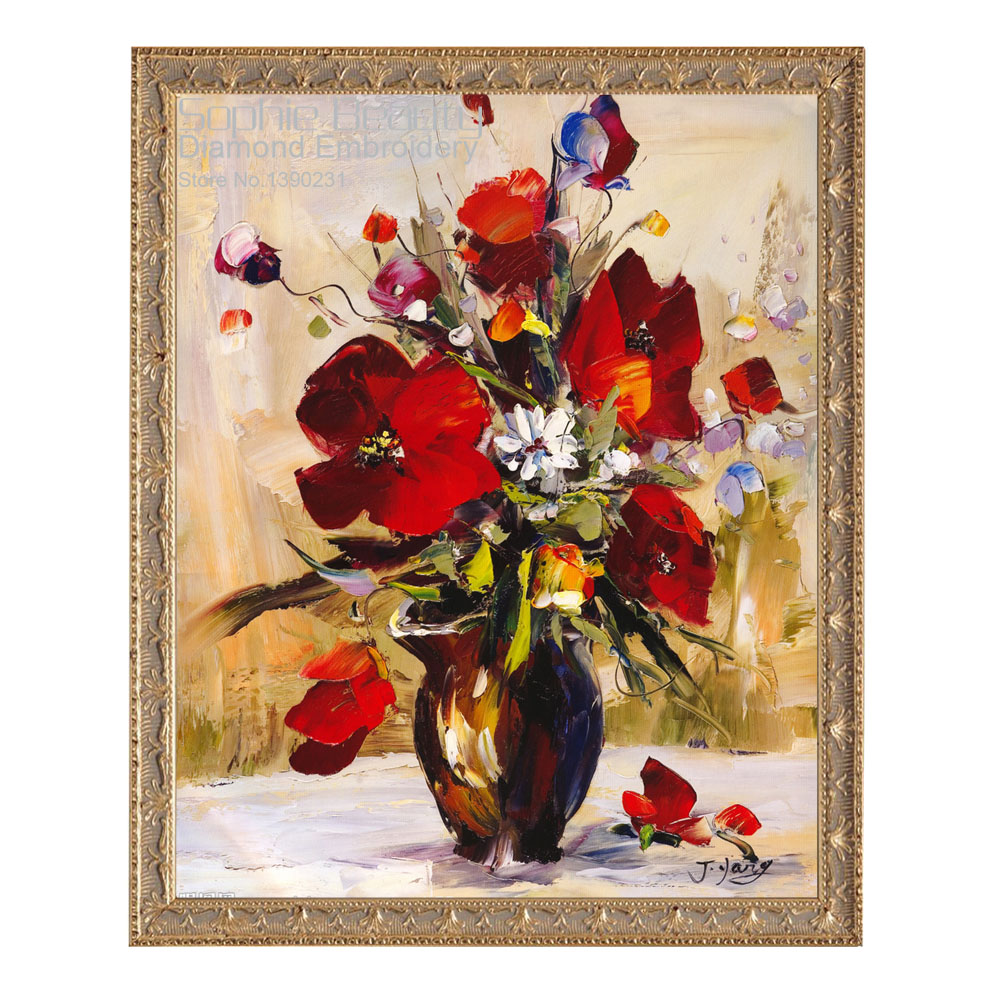 Hot Flowers Diamond Painting DIY Diamond Embroidery Pattern Sets Patchwork Beads Embroidery Diamond Mosaic Pictures Decoration