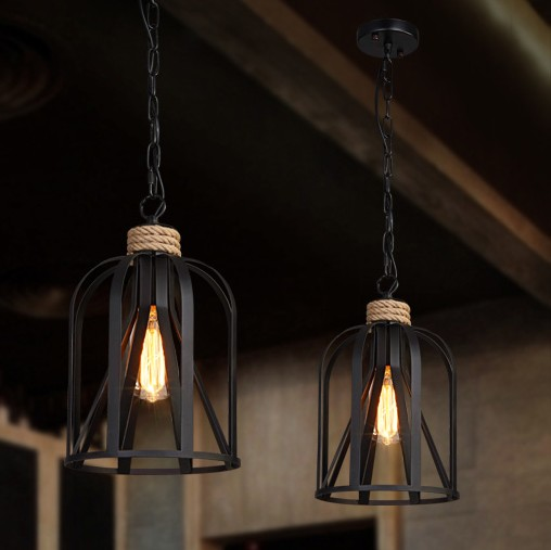 Retro Loft Style Iron Rope Edison Pendant Light Fixtures Vintage Industrial Lighting For Dining Room