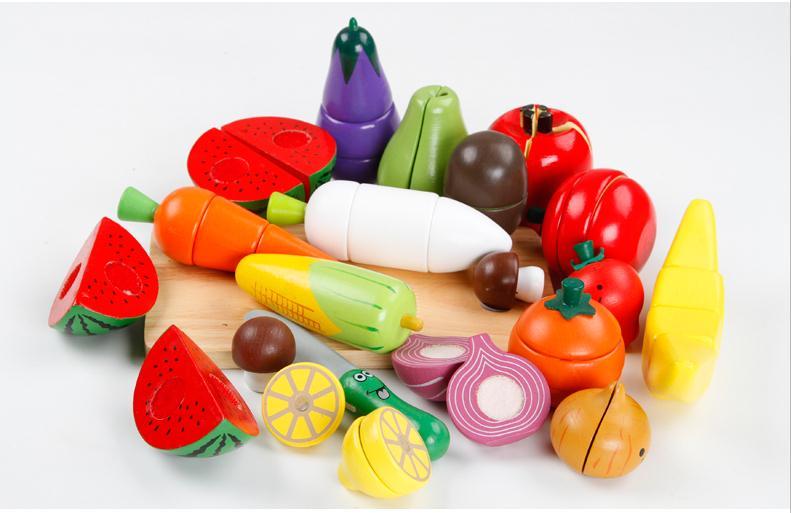 Bébé jouet aimant légumes/fruits blocs de construction blocs de construction enfants semblant jouer cuisine jouets en bois jouets cadeau