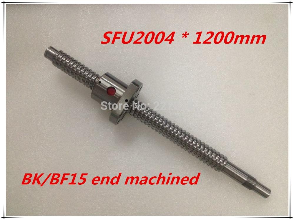 SFU2004 1200mm Ball Screw Set : 1 pc ball screw RM2004 1200mm+1pc SFU2004 ball nut cnc part standard end machined for BK/BF15 sfu2004 800mm ball screw set 1 pc ball screw rm2004 800mm 1pc sfu2004 ball nut cnc part standard end machined for bk bf15