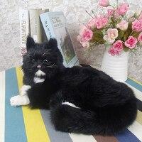 big simulation cat toy polyethylene & furs lying black cat model about 32x23x15cm 1739