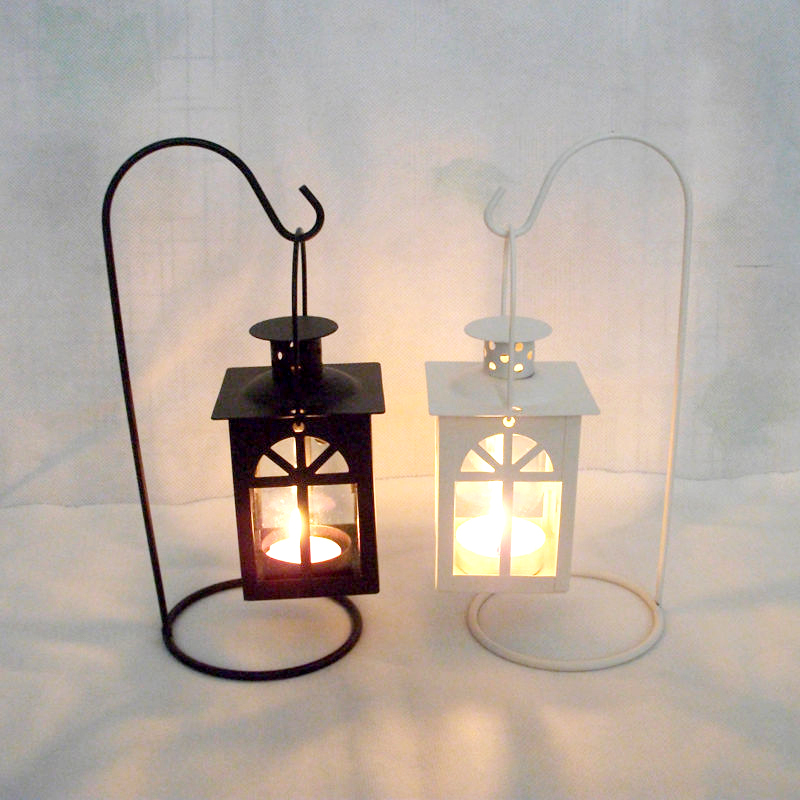 Outdoor Hanging Tea Lights: Moroccan Style Iron Lanterns Hollow Hanging Candlestick