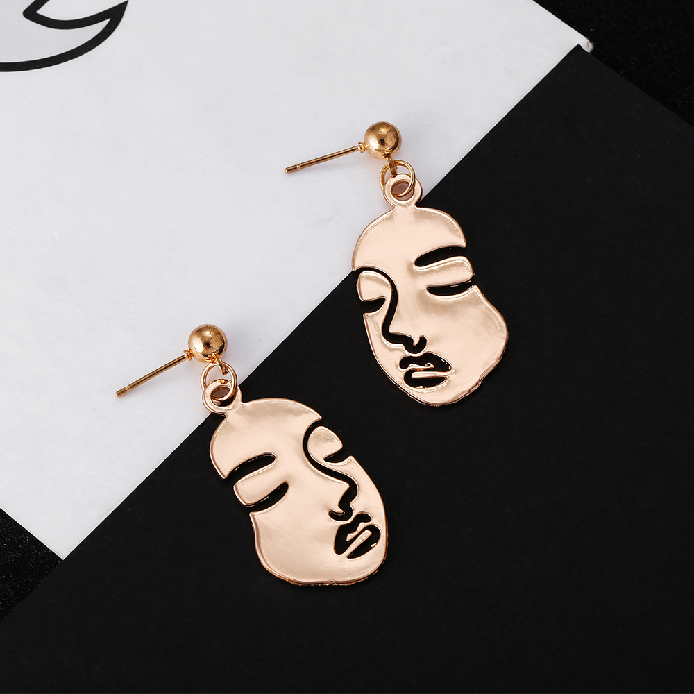 Abstract Hollow Out Face Dangle Earrings Unique Design Girls Statement Long Drop Earrings Jewelry Earrings Boucles D'oreilles