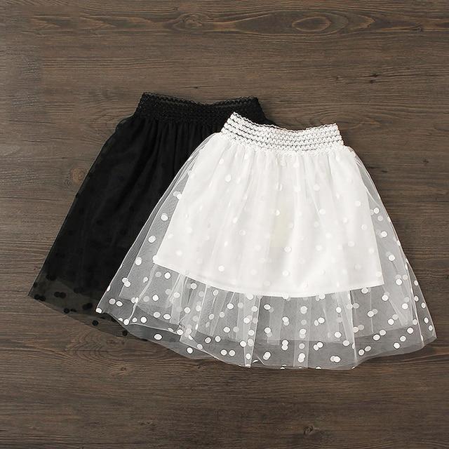 0ab292827e Girls Skirts Lace Polka Dot Summer Black Tutu Tulle Pettiskirts For Kids  Girl Cotton Lining Knee-Length 2018 Children Clothes