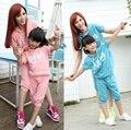 """ Flying "" T-shirt + pants Shorts familia ropa de la ropa para la madre e hija ropa conjuntos de verano ropa DL56"