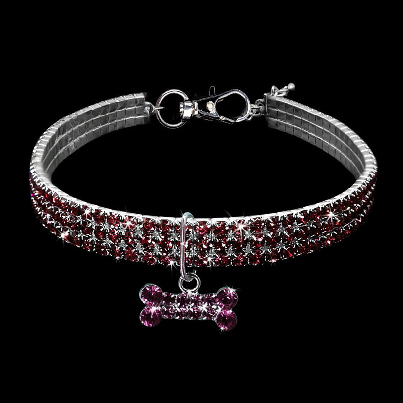 Bling Full Rhinestone Alloy Dog Necklace Collar Pendant for Pet Puppy Small Dogs Cats Party Decor Dress Up Pet Supplies 40JA22 (23)