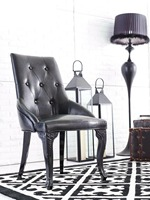 Metal Furniture European Style Neo Classical Hotel Living Room Metal Dining Chair High Grade Leather Restaurant