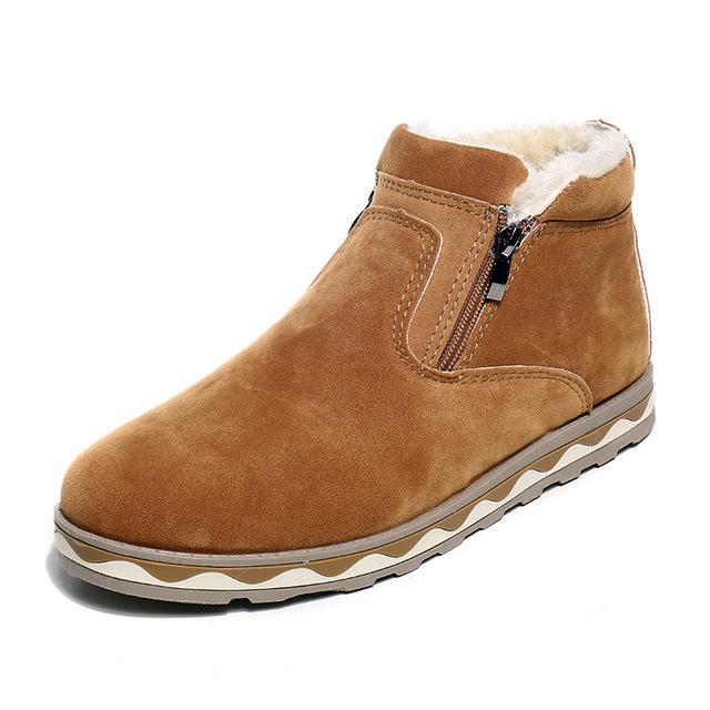 Los hombres de Moda de Cuero Nobuck Martin Botas de Invierno Otoño Caliente Botas de Piel de Nieve Botas Impermeables de Algodón Botas Cortas de Tobillo para masculino