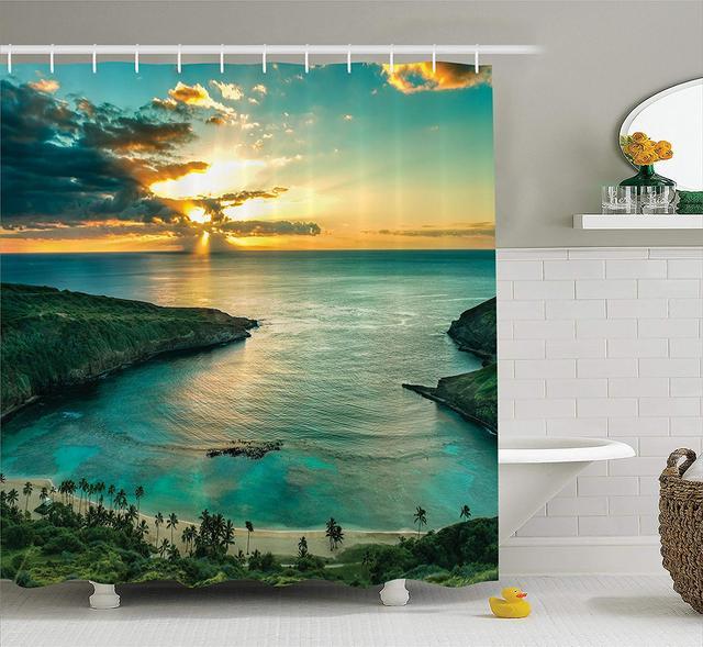 Ocean Shower Curtain Hawaiian Decor Sunrise Over Hanauma Bay On Oahu Hawaii  Sunbeams Through Dark Clouds