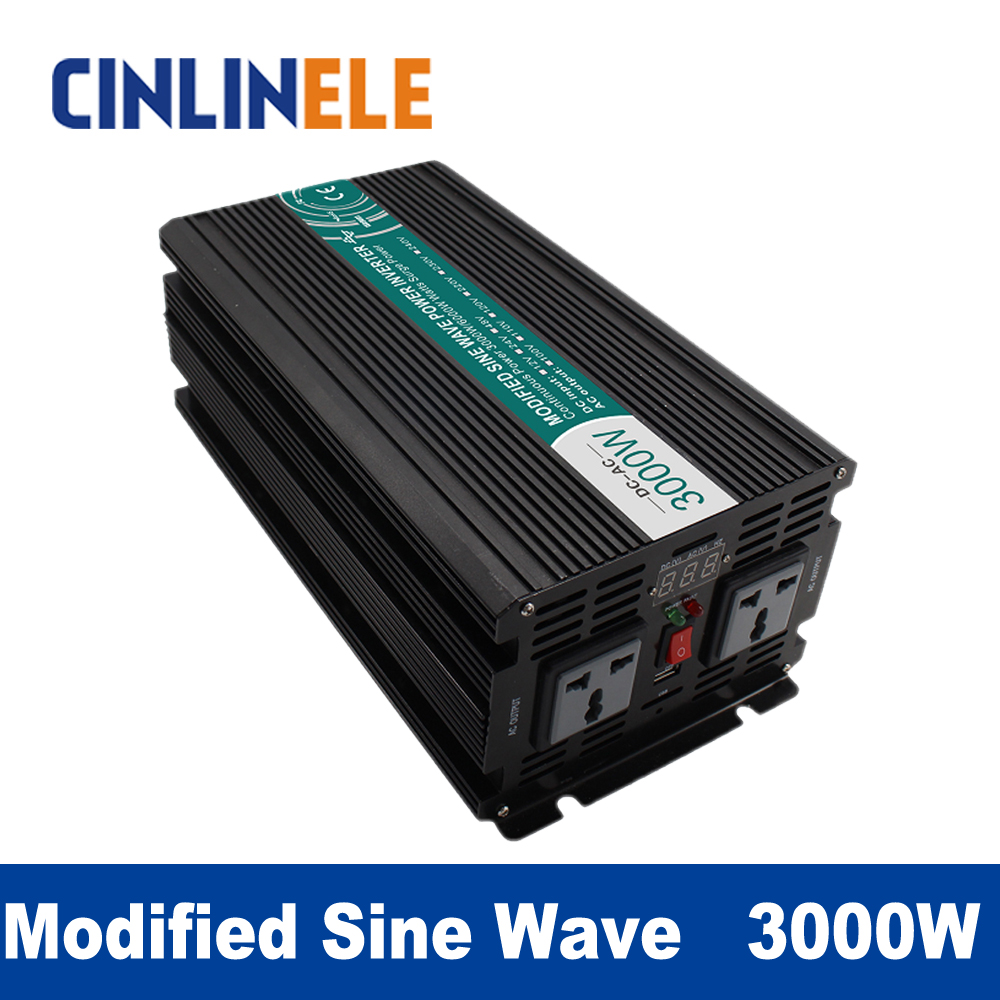 Modified Sine Wave Inverter 3000W CLM3000A DC 12V 24V 48V to AC 110V 220V 3000W Surge Power 6000W Power Inverter