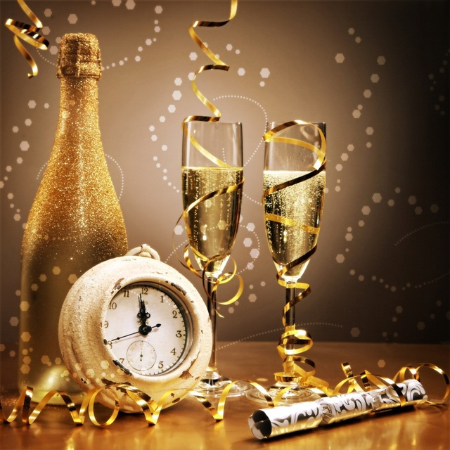 laeacco happy new year backgrounds clock golden wine bottle ribbon polka dots party child portrait photo