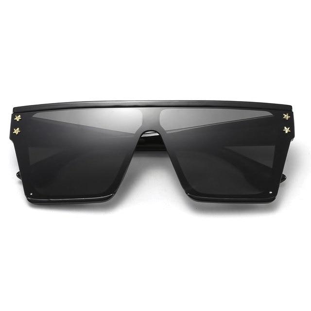 HUHAITANG Oversized Square Flat Sunglasses Women Vintage Luxury Brand Designer Sun Glasses Men Retro Classic Woman For Sunglass 1