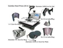 DHL free shipping 8 In 1 Combo Heat Transfer Machine,Sublimation/Heat Press Machine For Plate/Mug/Cap/TShirt /Phone case Etc