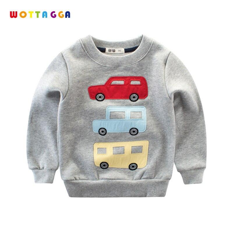 WOTTAGGA Kids Hoodie Boys Solid Pullover Long Sleeve Children Tops & Tees Spring Sweatshirts Spring 2018 Car Truck Cartoon Boys