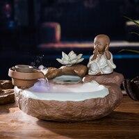 Вода Фонтан керамической посуды фарфор украшения фэн шуй Лаки колеса увлажнитель аквариум Desktop офис исследование