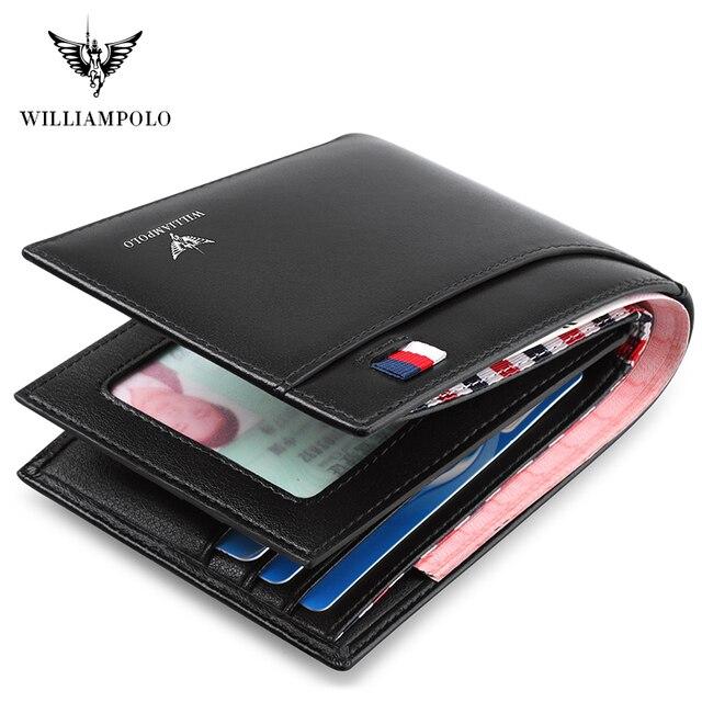 Williampolo carteira masculina de couro legítimo, nova carteira masculina compacta feita em couro legítimo, com dobra central e compartimento para cartões 4