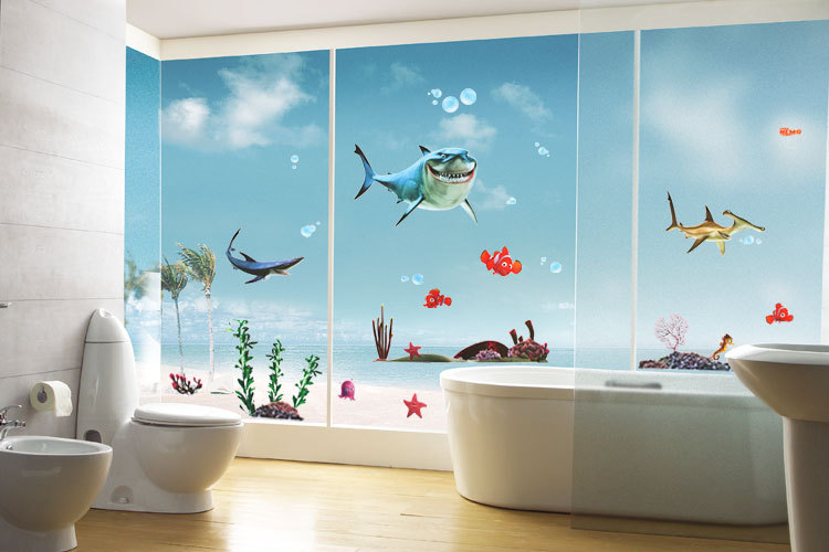 Us 6 04 8 Off Finding Nemo Wall Stickers Decals Art For Baby Nursery Kid Boy Room Home Decoration Wallpaper Cartoon Fish Blue Sea Poster In