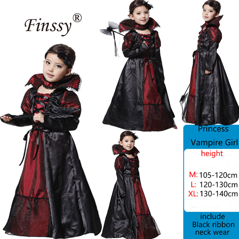 Kids Scary Girls Children Vampire Witch Costume Girl Cosplay Carnival Party Princess Fancy Dress Fantasia Halloween Costume