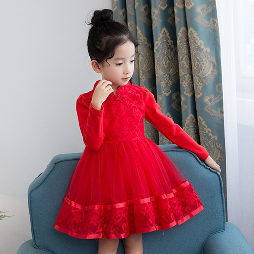 все цены на  Girl Cheongsam Lace Long Sleeve Princess Dress girls clothes winter kids dresses for girls christmas dress baby clothing  онлайн
