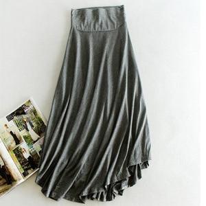 Image 3 - New Casual Elegant Women Cotton Long Skirts Elastic Waist Pleated Maxi Skirts Beach Boho Vintage Summer Skirts Faldas Saia D160