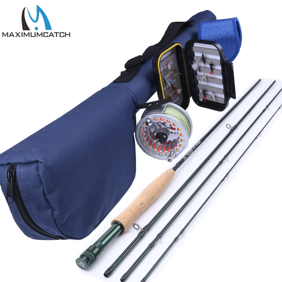 Maximumcatch 9FT 5WT Fly Rod And 5/6WT Reel Combo Pre-spooled Fly Fishing Box Fly Flies maximumcatch new 5wt 4pieces 9ft carbon fiber fly rod with 5 6wt reel and lines