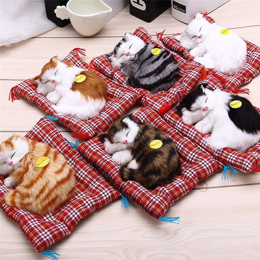 Stuffed Toys Lovely Simulation Animal Doll Plush Lazy Sleeping Cats Plush Toy With Sound Home Decorations