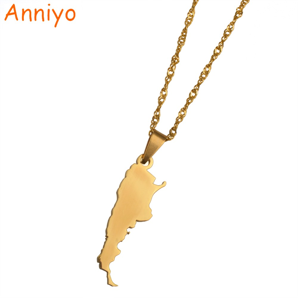 Anniyo Argentina Map Pendant & Necklaces for Women Gold Color Charm Argentine Maps Jewelry Patriotic Gifts #018121