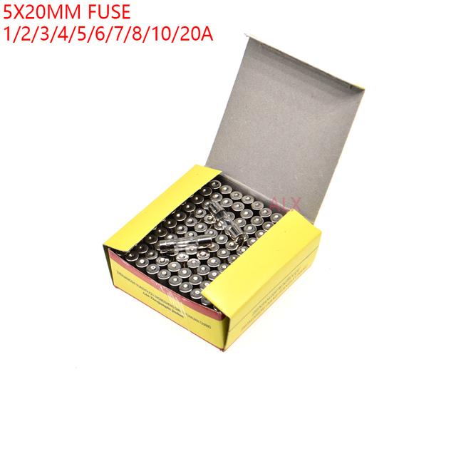 100PCS 5*20MM GLASS Quick Blow FUSE 5*20 Fast Blow insurance tube 5X20MM 5X20 250V 0.1A/0.5A/1A/2A/3A/4A/5A/6A/7A/8A/10A/15A/20A