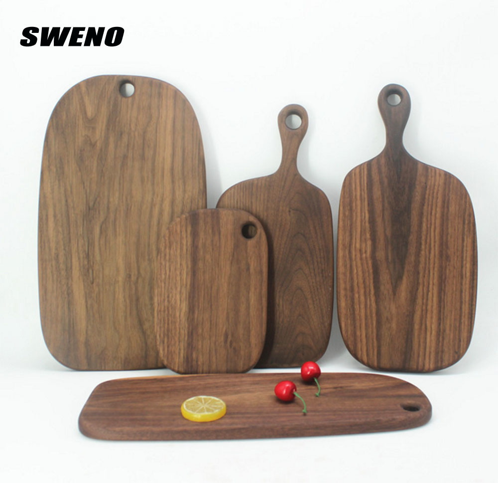 SWENO Black Walnut Cutting Board Kitchen Chopping Block Wood Cake Sushi Serving Trays Bread Fruit Pizza Tray