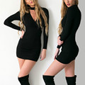 2016 New Arrivals Autumn Dress Deep V Neck Sexy Party Dresses Cotton Long Sleeve Women Bodycon Dress Vestidos Robe