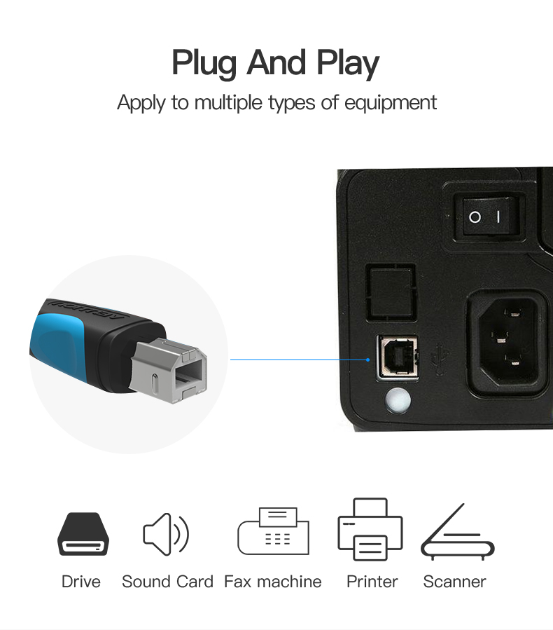 Vention USB 2.0 Type A Male To B Male Cable To Sync Data In Scanner And USB Printer 11