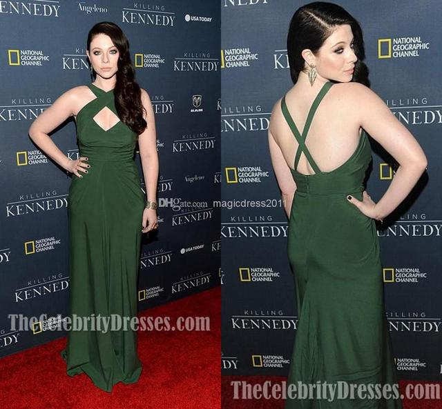 Wholesale - 2014 Michelle Trachtenberg Green Chiffon Evening dress la  premiere of killing kennedy Celebrity Dresses A-Line Crew 05364505a42f