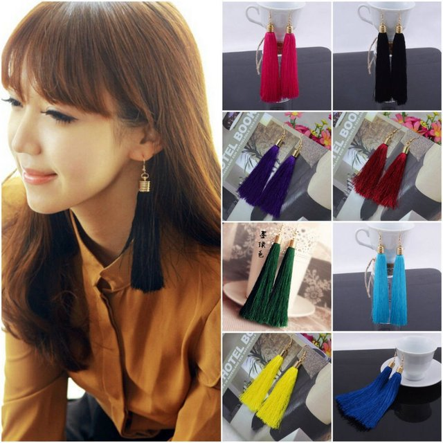 Hotsell High Quality Korea Style exaggerate multicolor purl Clip Earrings Bride Tassels Fashion Jewelry
