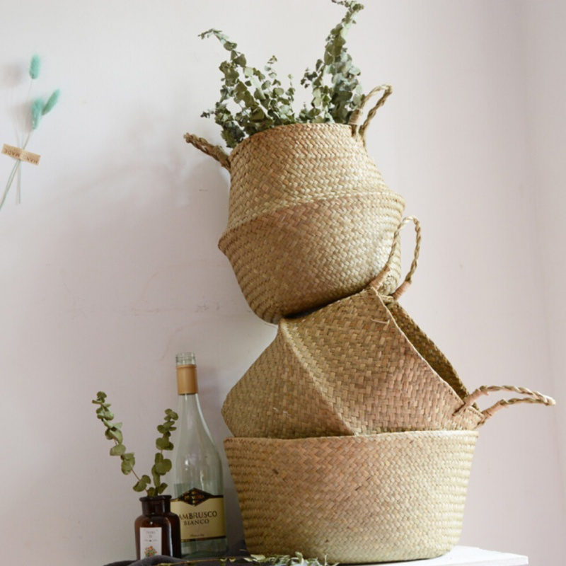 Seagrass Weaved Home Storage Baskets Bags Flower Pot Organizer Handle Shopping Clothes Cosmetic Food Cosmetic Storage Bag Basket