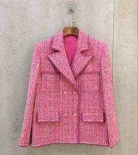 High quality women's elegant tweed coat New 2019 spring autumn loose jackets coat A421